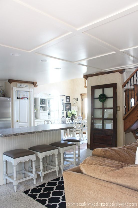 How To Make A Faux Coffered Ceiling Bloggers Best Diy Ideas Pinterest Chairs Coffered