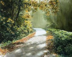 Watercolor Paintings By Japanese Artist Abe Toshiyuki - example of this type of composition, can use road or river etc to lead the eye in to painting