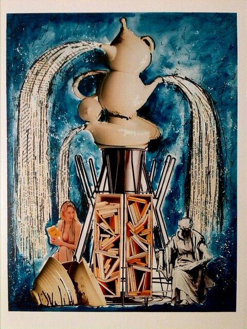 Collage *La Fontana* LIBRIRITRATTI autore Toto Dinoi  cm 59*39 /Italia