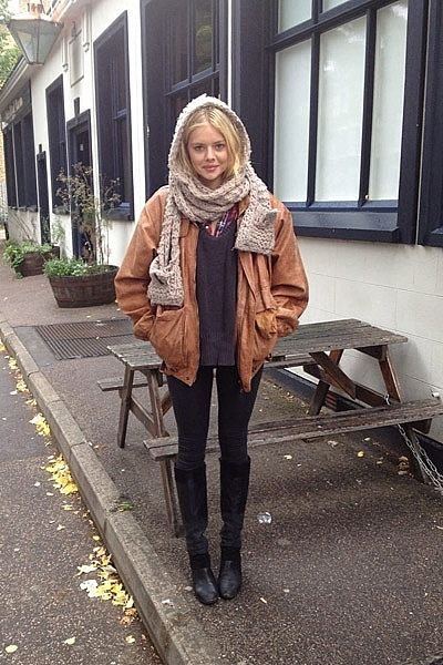 """""""This is me freezing in London wearing Bardot checkered shirt, Whistles jumper, a leather jacket from Camden Market and my Sportsgirl beanie/scarf/mittens. :)"""""""