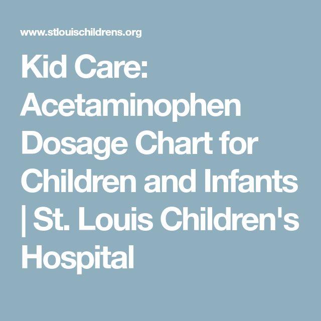 Kid Care: Acetaminophen Dosage Chart for Children and Infants | St. Louis Children's Hospital