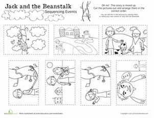 Oh no, Jack's beanstalk story is all jumbled up! Cut out the pictures and fix the story sequence to help Jack get his story straight!