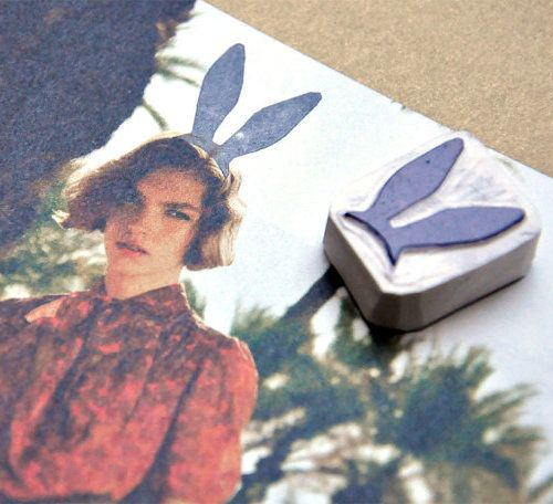 bunny ears: Handmade Stamps, Idea, Bunnies, Diy, Rubber Stamps, Ear Stamp