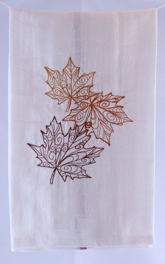 Fall Leaves Embroidered Kitchen Towel // Autumn // Dish Towel