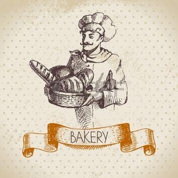 Хлебобулочные эскиз фон. Урожай рисованной иллюстрацией пекаря photo