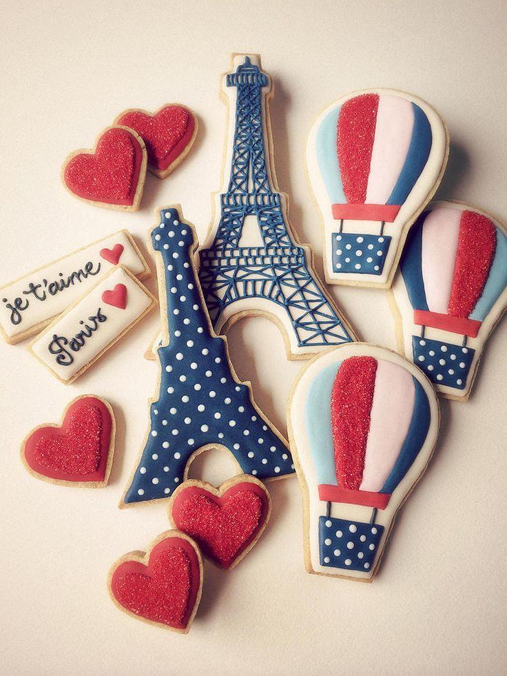 Paris cookies | Cookie Connection ~~~ Galletas decoradas con temática París.