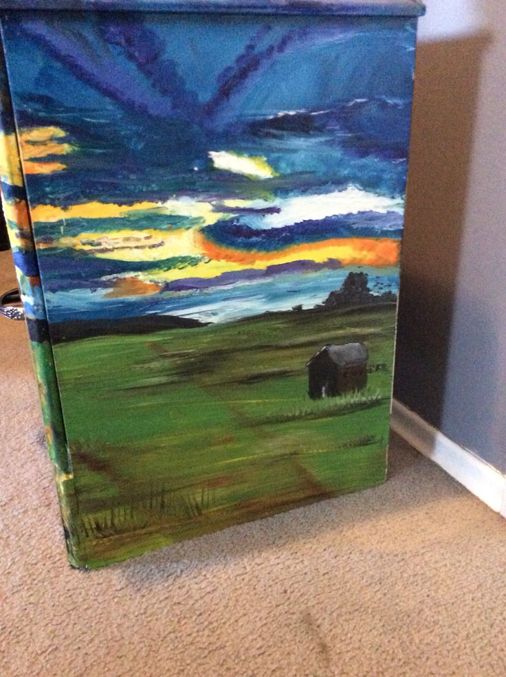 """End of the Day"" side table  Oil paint  For sale"