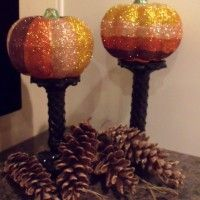 Ombre glitter pumpkins (everything from the dollar store!)