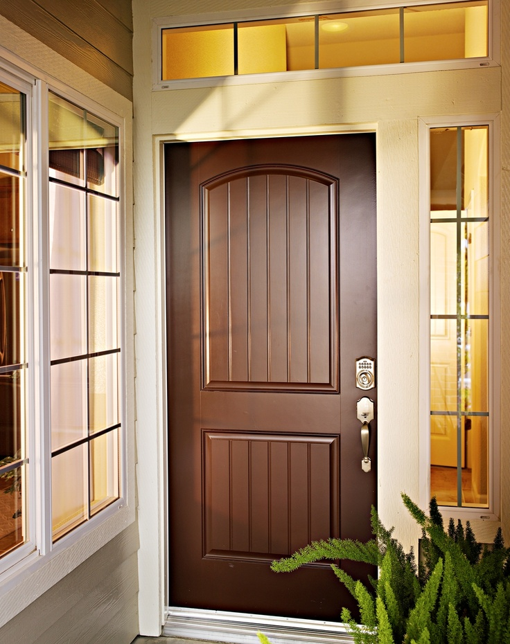 Plank-style entry door with keyless entry pad (has remote capability too)