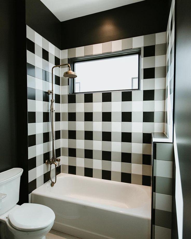 Gingham Bathroom Tile Design Bathroom Interior Design Black