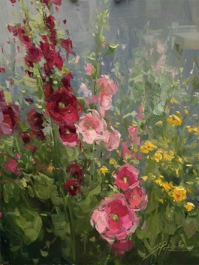 """Hollyhock bouquet"" by Stacey Peterson"