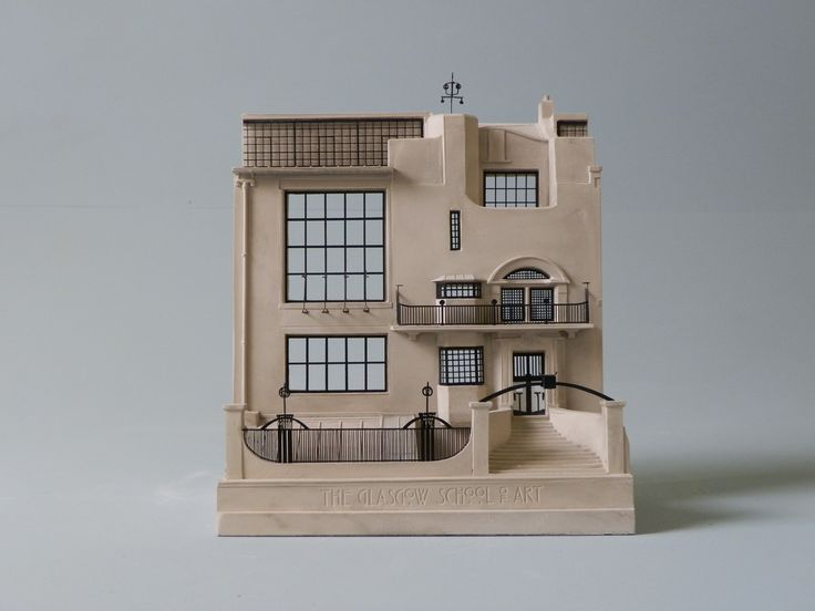 a handmade plaster architectural model of the glasgow school of art front designed by Charles Rennie Mackintosh, a great gift for any art lover or Glasgow alumni made by Timothy Richards of Bath.