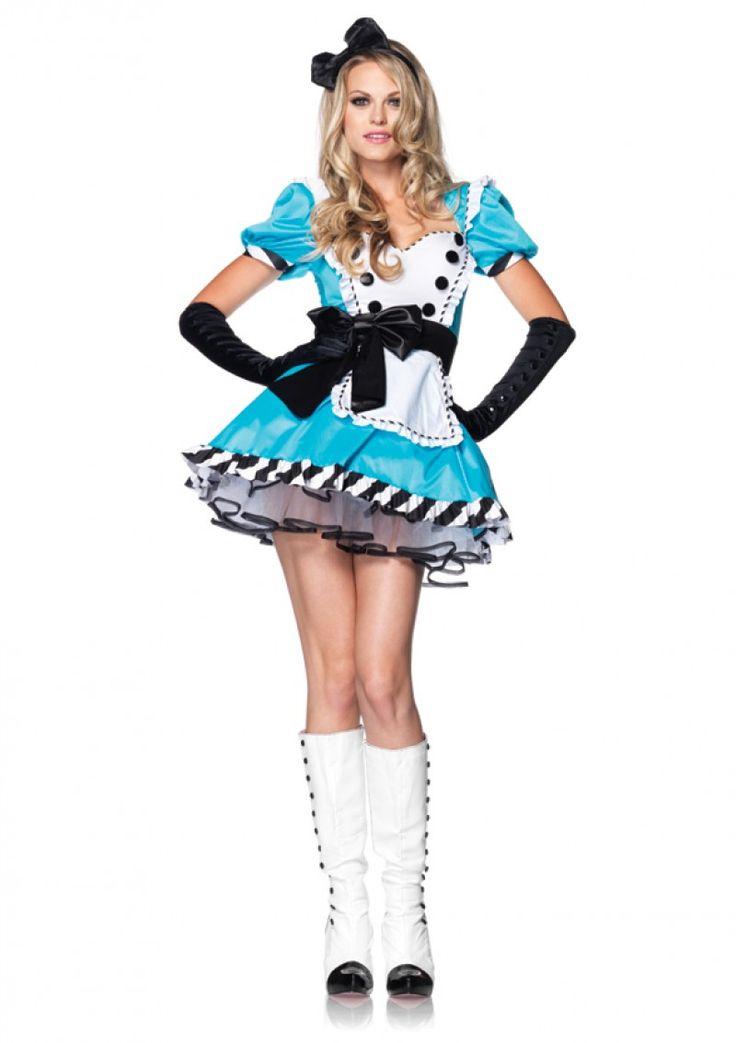 """""""Alice"""" öltözet (jelmez) tartozékai között szerepel a ruha és a fejpánt. Ajánljuk olyan jelmezes rendezvényekre ahol egy mese karaktert kell megformálnod, gyermekeknek szóló előadásokra, illetve farsangi rendezvényekre is kényelmes viselet."""