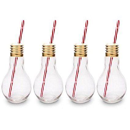 CKB Ltd® Lot de 4 Edison Light Bulb Ampoule Verres à cocktail Nouveauté Avec…