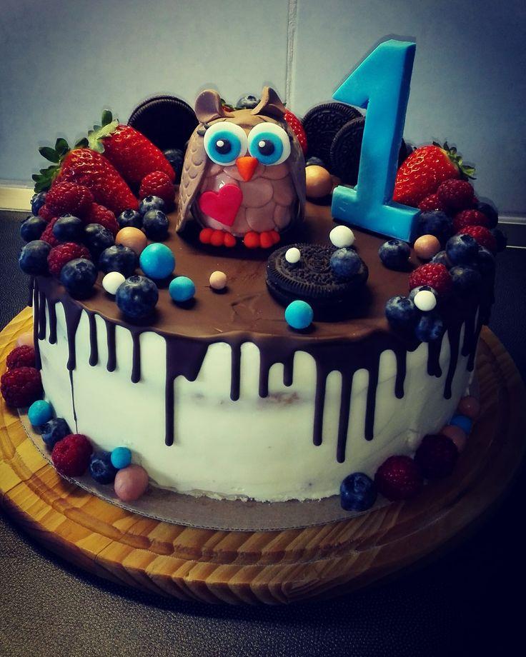 owl cake furst birthday boy