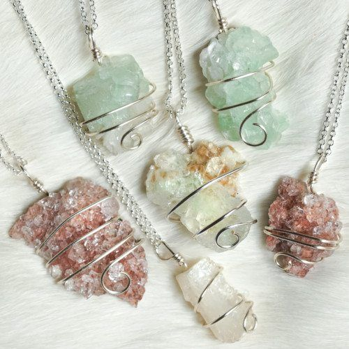 Wire Wrapped Zeolite Pendants for spirit realm connection and healing. Zeolite…