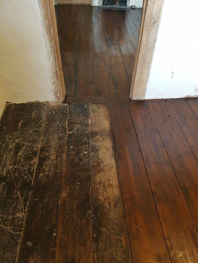 Before And After Old Pine Floor Restoration Old Wood Floors Antique Furniture Painting Antique Furniture