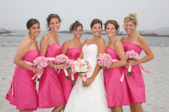 Hot Pink Bridesmaid Dresses..WANT! :)