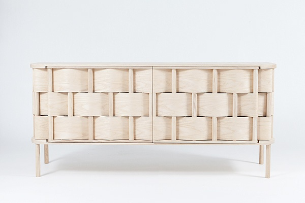 Woven wood sideboard. Very clever and beautiful.