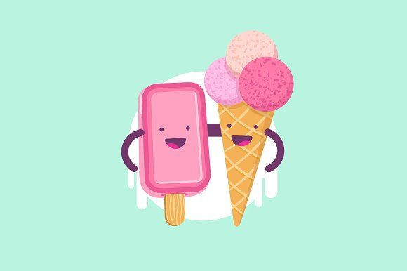 Cute funny Ice Cream characters. by joulenc on @creativemarket