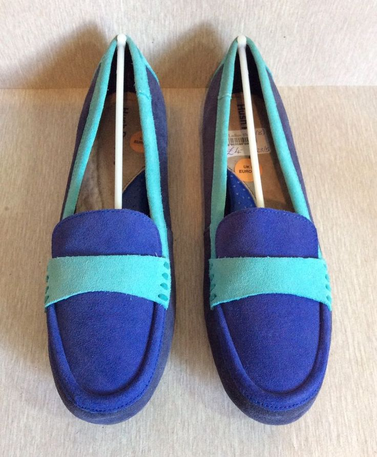 HUSH PUPPIES Blue Suede Moccasins Size 10 UK 8 Summer Shoes Slippers Loafers #HushPuppies #LoafersMoccasins #Casual