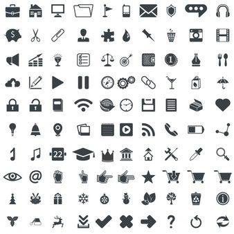 100 pictogrammes vecteur universel