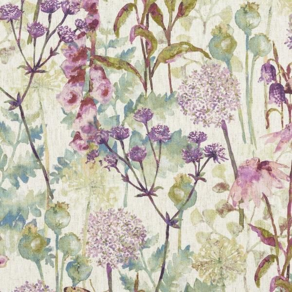 Wildflower Pastel Purple Linen Fabric Floral Upholstery Fabric