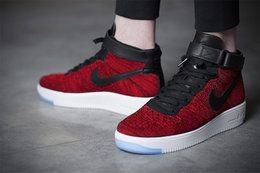 Купить Мужские высокие кроссовки Nike Air Force 1 Mid Flyknit Red (Найк Аир Форс) красные в Украине | Киев★
