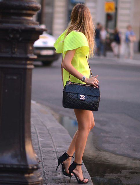 chanelShoes,  Minis, Paris Fashion, Chanel Bags, Style, Neon Dresses, Neon Colors, The Dresses, Neon Yellow