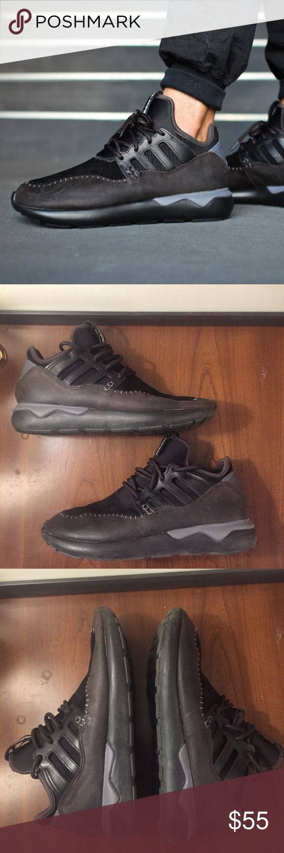 Adidas Tubular Moc Runner 'All Black' (9) Excellent condition Men's Adidas Tubular Moc Runner.  SIze 9.  - An all new hybrid of the popular Tubular runner and a moccasin style. - Features a textile and suede material. - Features a ikat pattern on portions of the upper textile material. - Includes a back heel support, and more. adidas Shoes Sneakers
