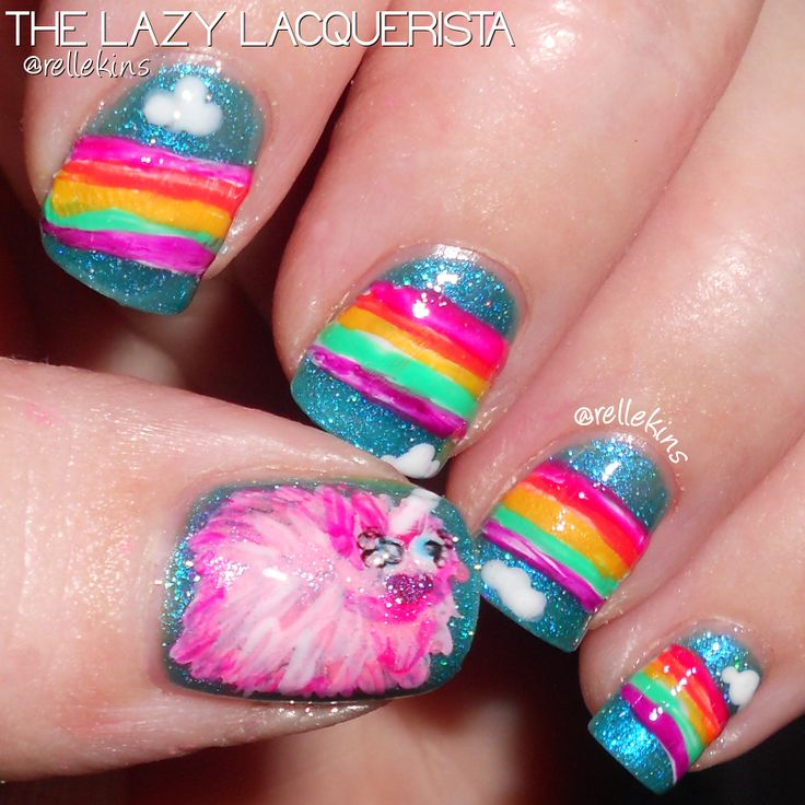 PINK FLUFFY UNICORNS DANCING ON RAINBOWS - Day 5 of 10 Day Nail Art Comp - Lazy Lacquerista / Gauche Gal