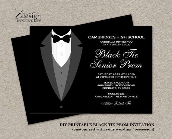 The 25 best Prom invites ideas – Black and White Party Theme Invitations