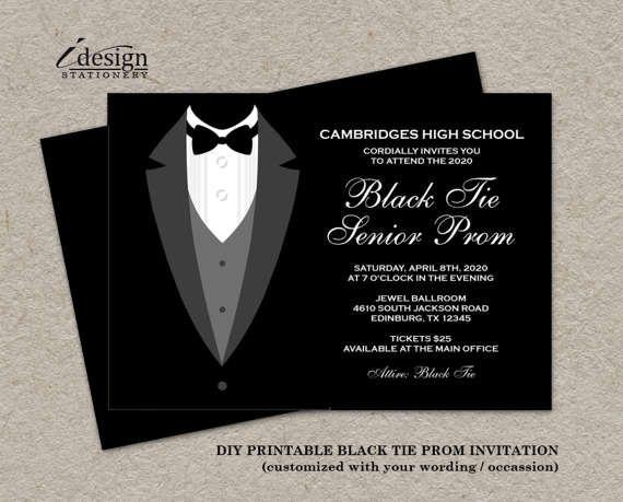 Black Tie Affair Prom Invitations | Formal DIY Printable Junior Senior Tuxedo Prom Invites | Black And White Themed Prom Night Invitation
