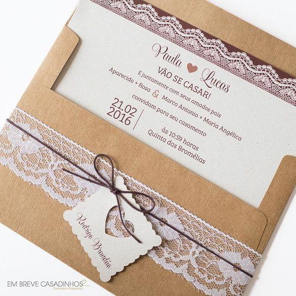 Convite de Casamento - Renda Rústica