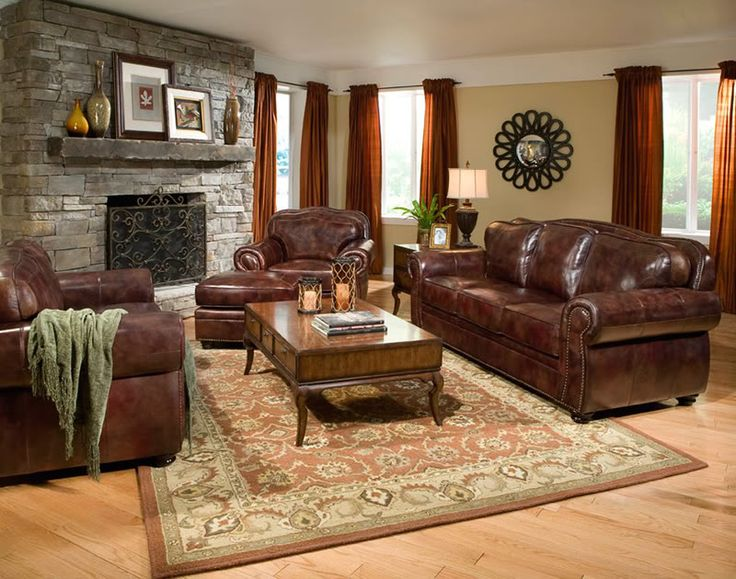 Living Room : Fireplace With Picture Frame Also Brown Fabric Curtain And Brown And Beige Round Rug Besides Brown Leather Sofa Natural Varnished Wooden Floor White Fabric Square Table Lamp Leather Sofas - Reclining Comfort on Family Space Leather Couch And 2 Chairs. Leather Sofa Clearance Free Shipping. Leather Couch And Chairs.
