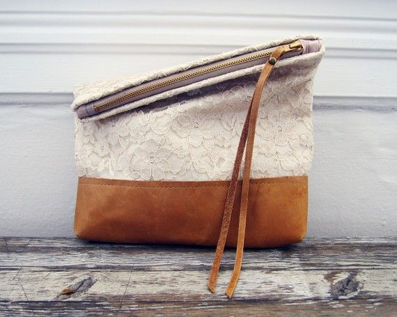 lace and leather pouch from scout and catalogue via oh, hello friend.