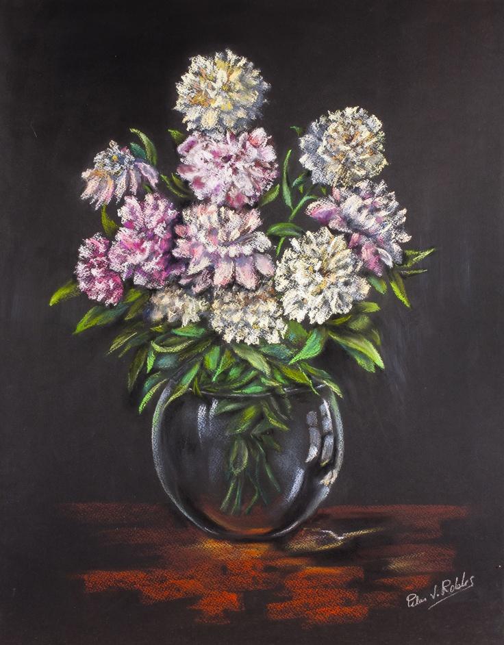 Pilar S. Robles. Flores en florero de cristal. Pastel. 76x61.