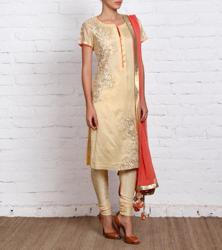 Beige Chanderi Suit with Embroidery