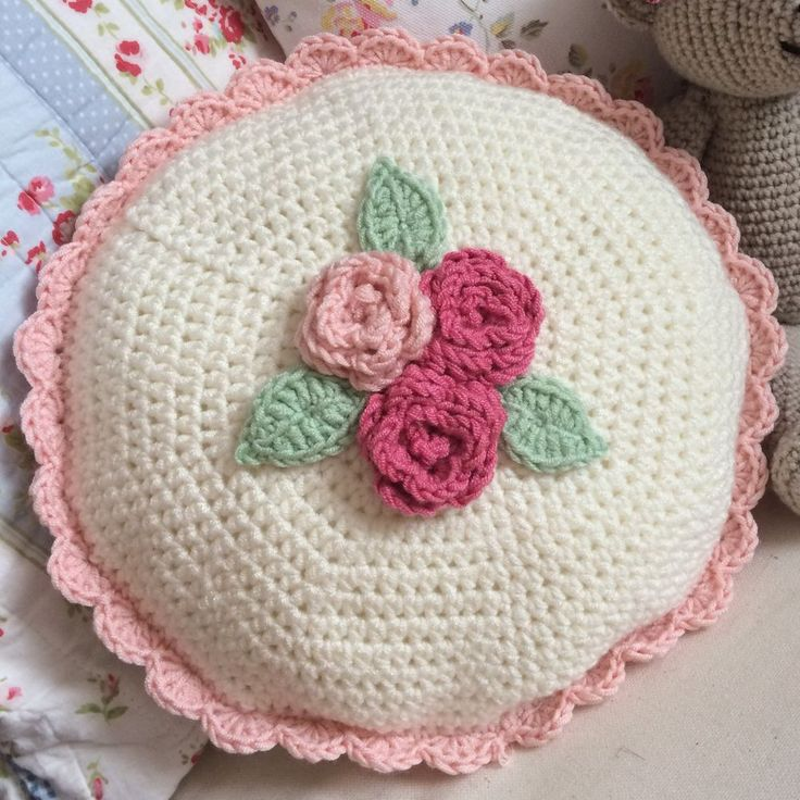 Crochet Cushion via Lily and Rose. Click on the image to see more!