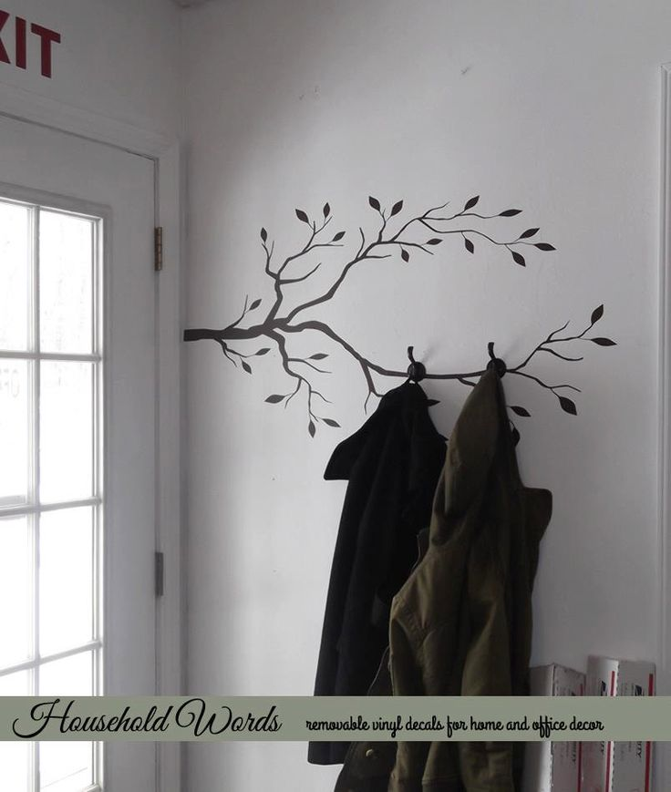 Tree Branch Decor Vinyl Wall Decal, DIY Coat rack decal. (Could also be painted on the wall)... use this for towels instead?