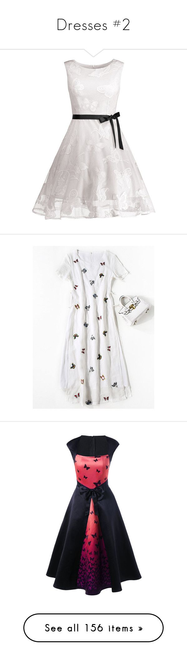 """""""Dresses #2"""" by rubygirl645 ❤ liked on Polyvore featuring dresses, short white dresses, formal dresses, white dress, white formal dresses, moth dress, butterfly pattern dress, butterfly print dresses, white day dress and white butterfly dress"""
