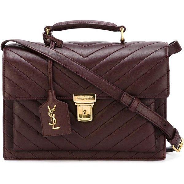 Saint Laurent medium 'High School' satchel (36.098.785 IDR) ❤ liked on Polyvore featuring bags, handbags, red handbags, red quilted handbag, leather purse, red satchel handbags and quilted leather purse