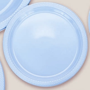 "Plastic Powder Blue Dinner Plates. Plastic 10.25"" Dinner Plates Solid ColoursThere are 20 Plastic Dinner Plates per package. They are a LARGE 10.25 inches and come in 22 colours to suit any theme or event. This is a great item if you require a large plate that is stronger than paper."