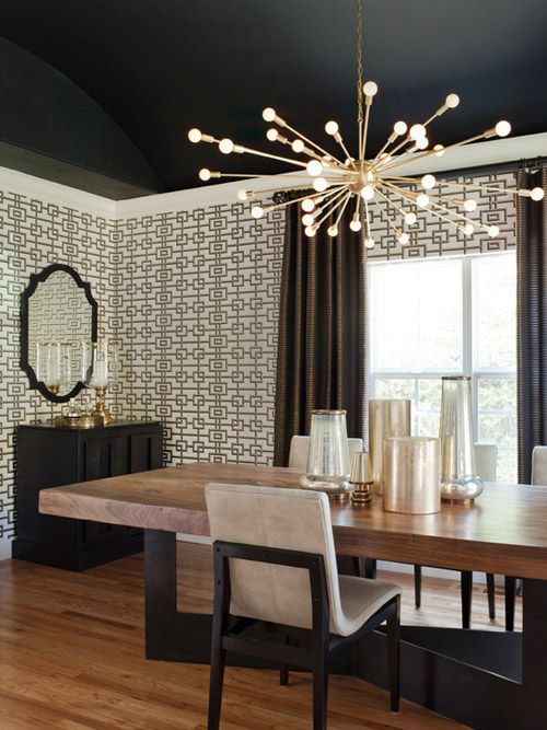 sputnik, dining room, trellis wallpaper, black ceiling, Lizette Marie Interior Design