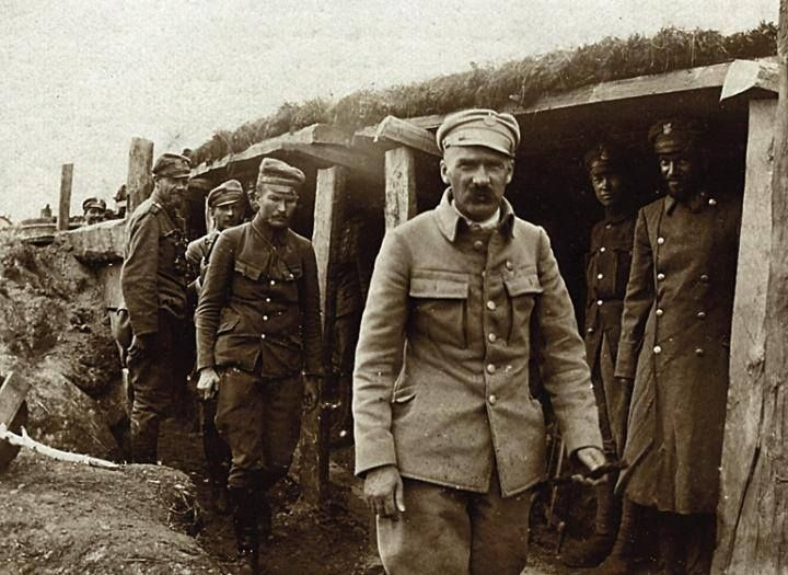 WWI; Józef Piłsudski, commander of the First Brigade of the Polish Legions, inspecting his troops at the front, c1916.