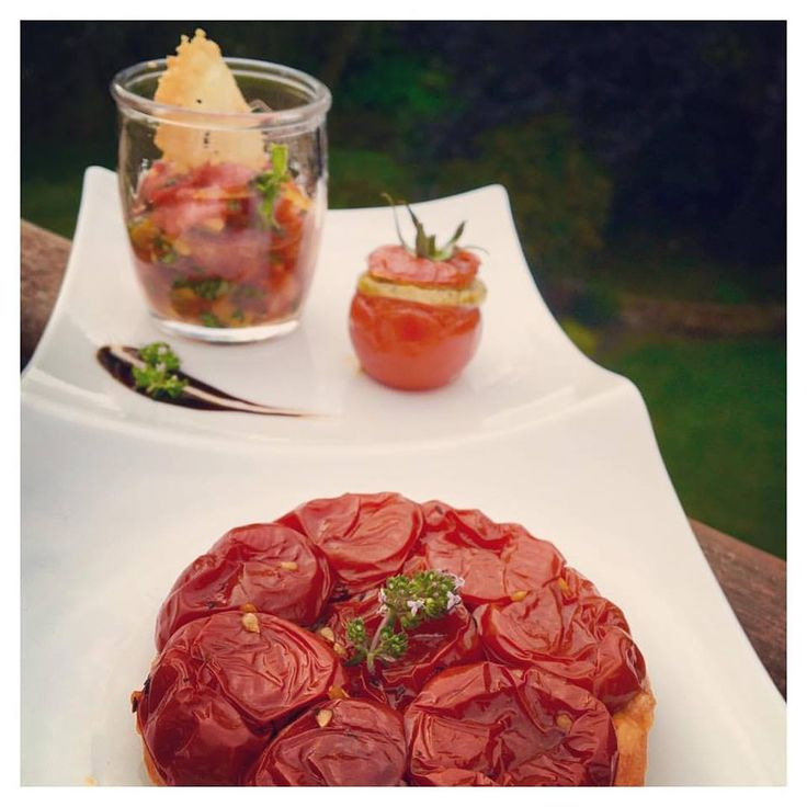 The ultimate combo cause you never know when a tomato craving will strike! Featuring a tomato tatin, stuffed tomato and tomato tartar!