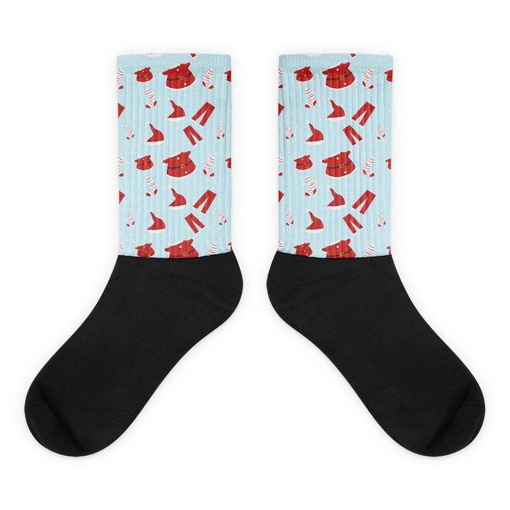 Santa Suits Pattern Black Foot Socks
