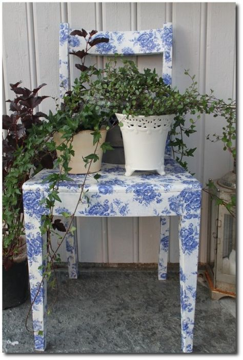 30 Mod Podge Project Ideas. I've got some old wooden chairs that definitely need a facelift like this!