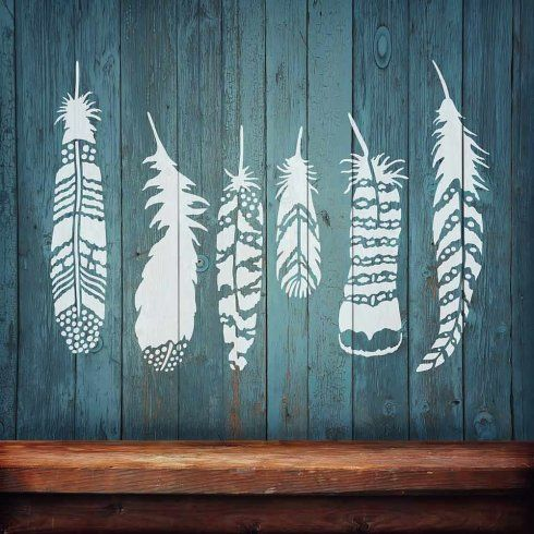 Feathers 6 piece Stencil Kit from Cutting Edge Stencils http://www.cuttingedgestencils.com/feathers-stencil-design-boho-tribal-indian-feather-stencils.html    Feathers wall stencil kit for wall decor