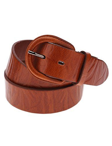 FLATSEVEN Mens Embossed Pattern Genuine Leather Belt with Horseshoe Buckle (Y411), LightBrown  #FLATSEVEN #Men #clothing #fashion #outfits #belts #accessories